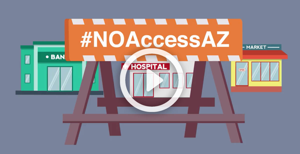 Sign in front of public buildings with hashtag No Access AZ