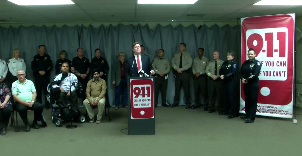 Speaker announcing Maricopa County text to 911 initiative